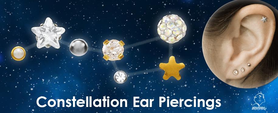 Constelación de pendientes de perforación de oreja: ¿Una nueva moda?